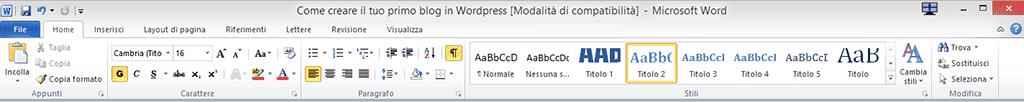Barra degli strumenti di Microsoft Word