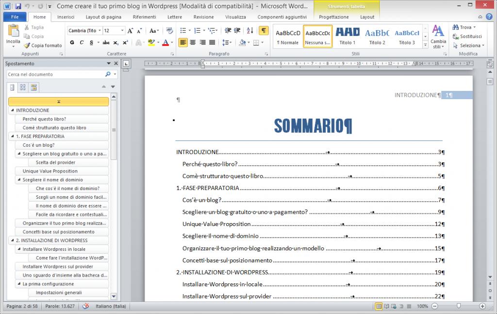 Il sommario di Microsoft Word