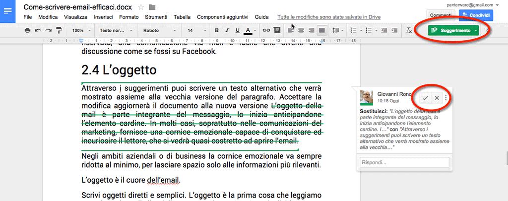 Google Documenti: collaborare attraverso i suggerimenti