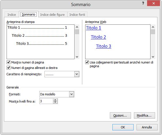 Creare un sommario in Microsoft Word
