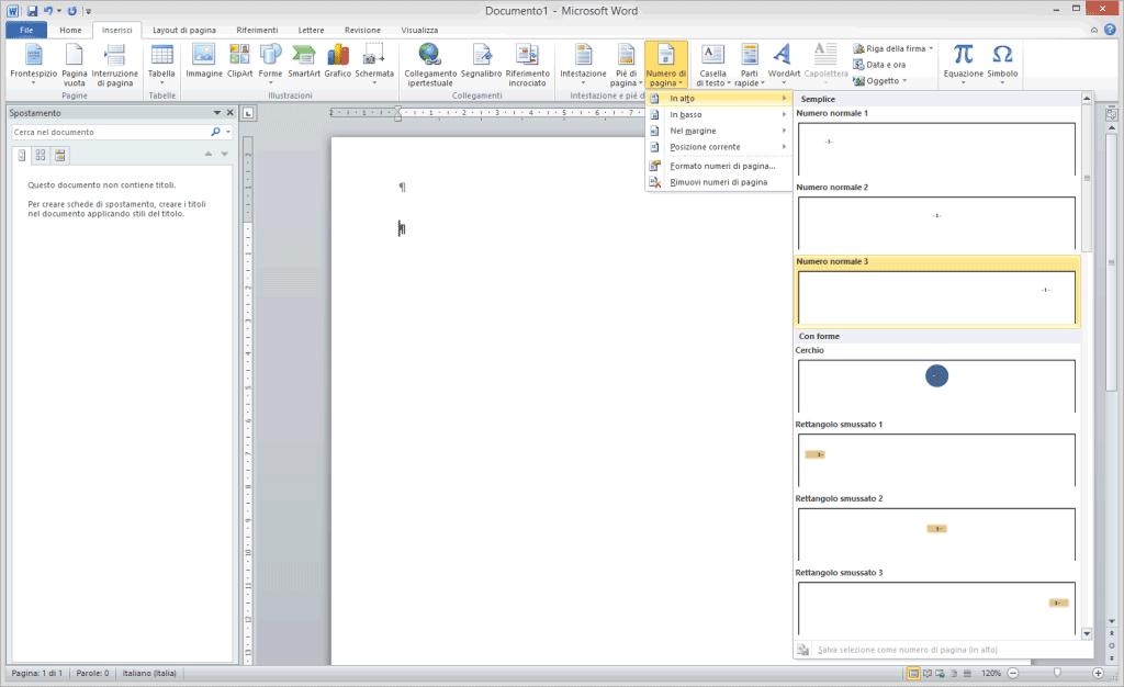 Numerare le pagine in Microsoft Word