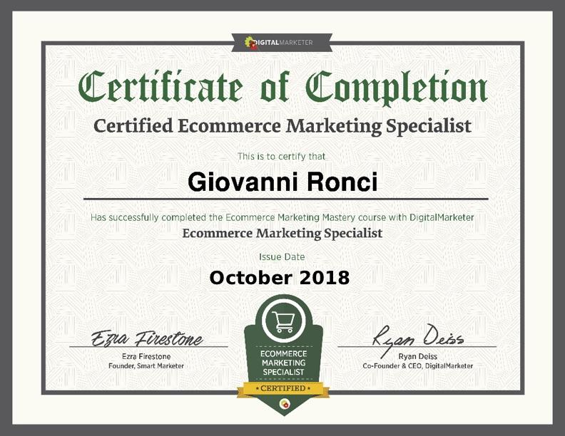 Certificazione ecommerce marketing specialist