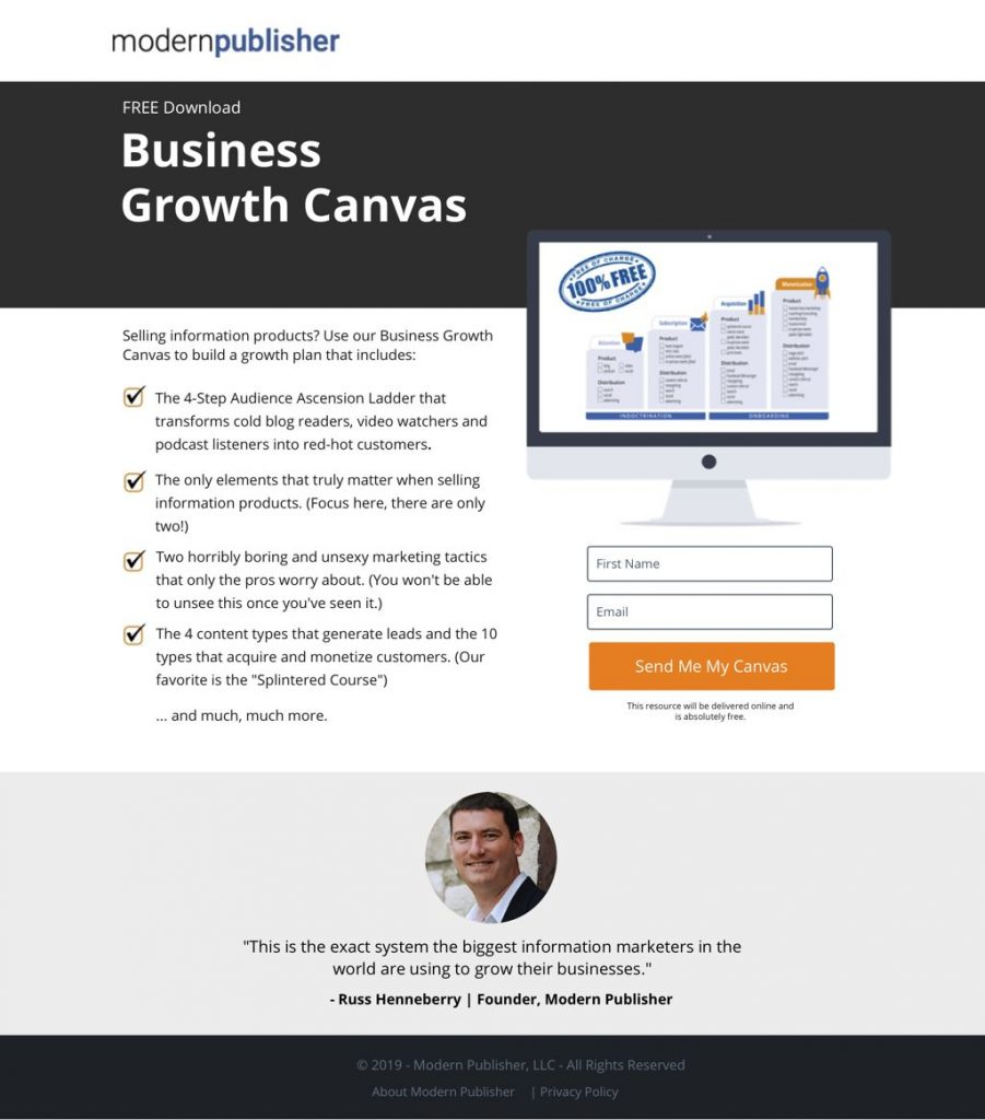 squeeze page per lead magnet