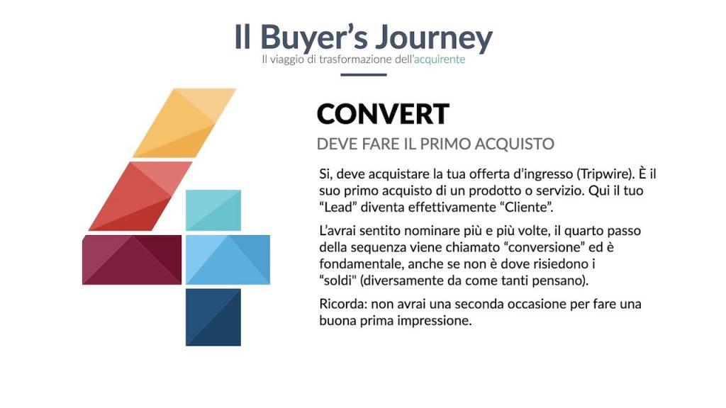 Buyer Journey: convert, la fase in cui avviene il primo acquisto.