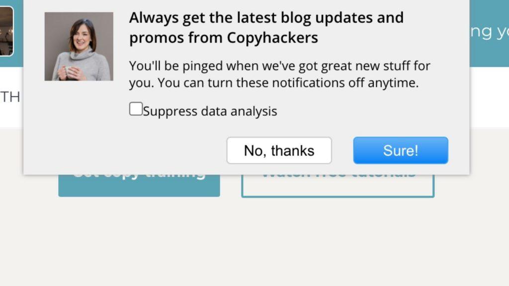 Esempio di notifica push sito web
