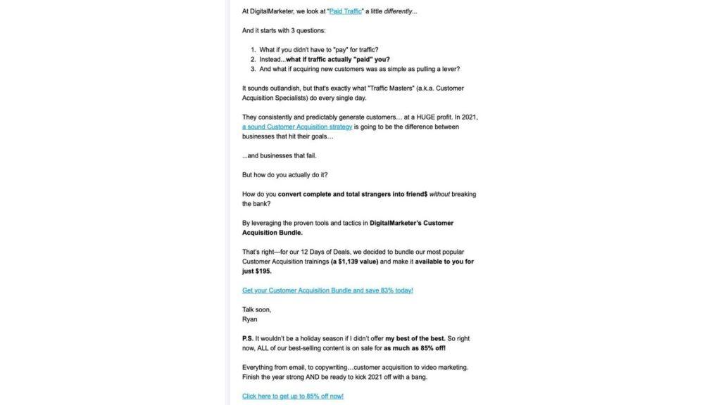 esempio email promozionale