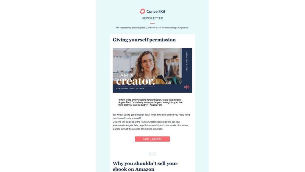 Esempio newsletter Convert Kit