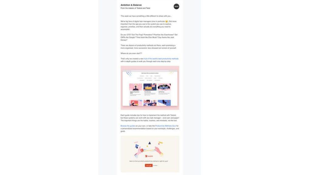 newsletter che convertono: Doist