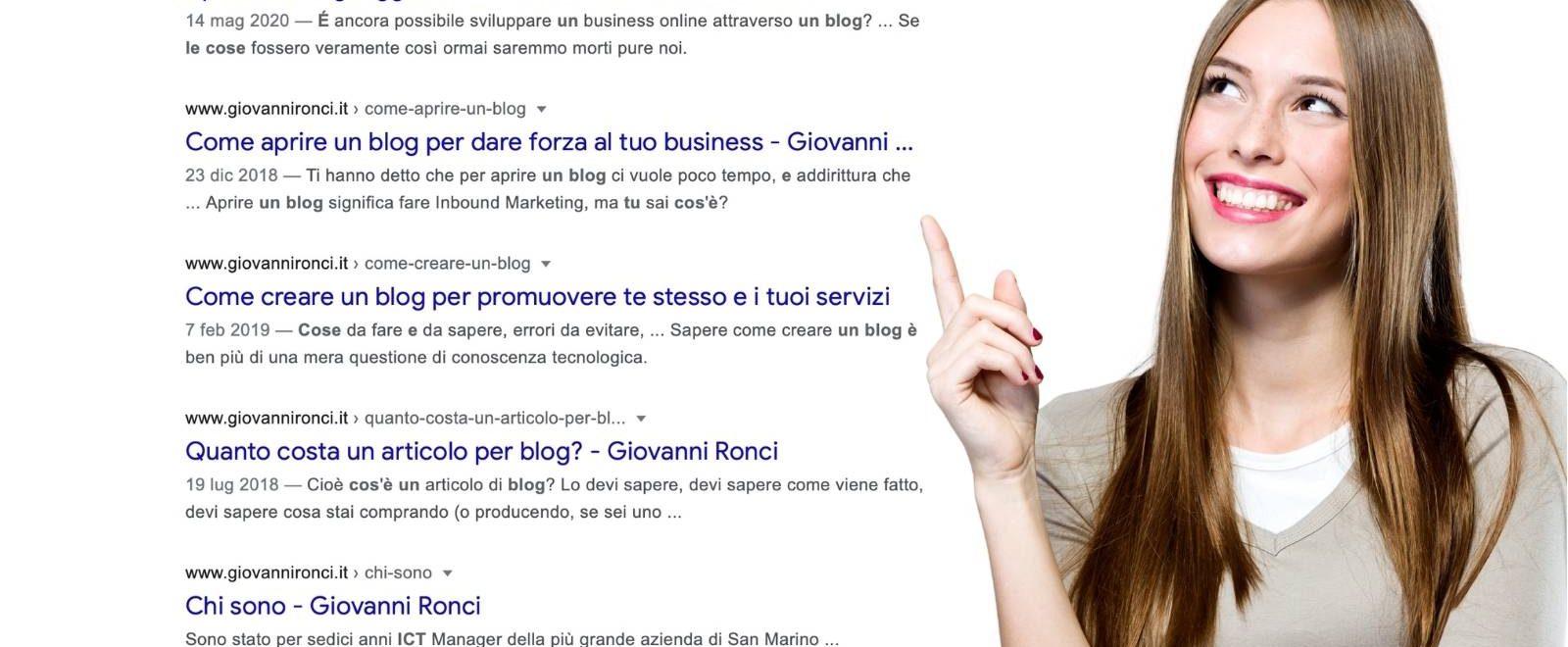 Come scrivere un titolo: nell'immagine donna sorridente indica una pagina dei risultati nei motori di ricerca