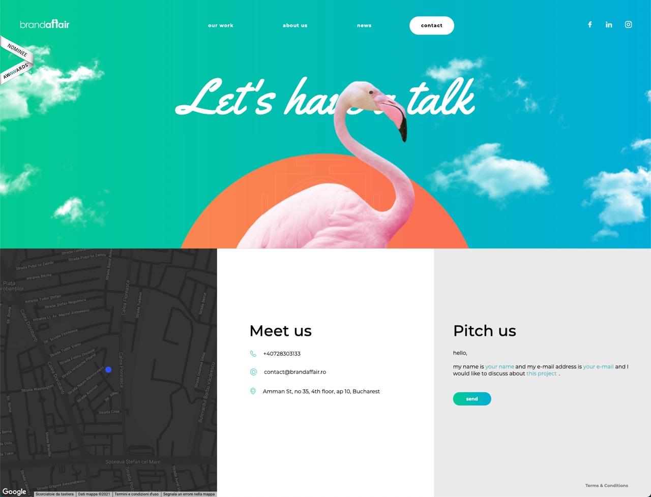 Esempio pagina contatti innovativa