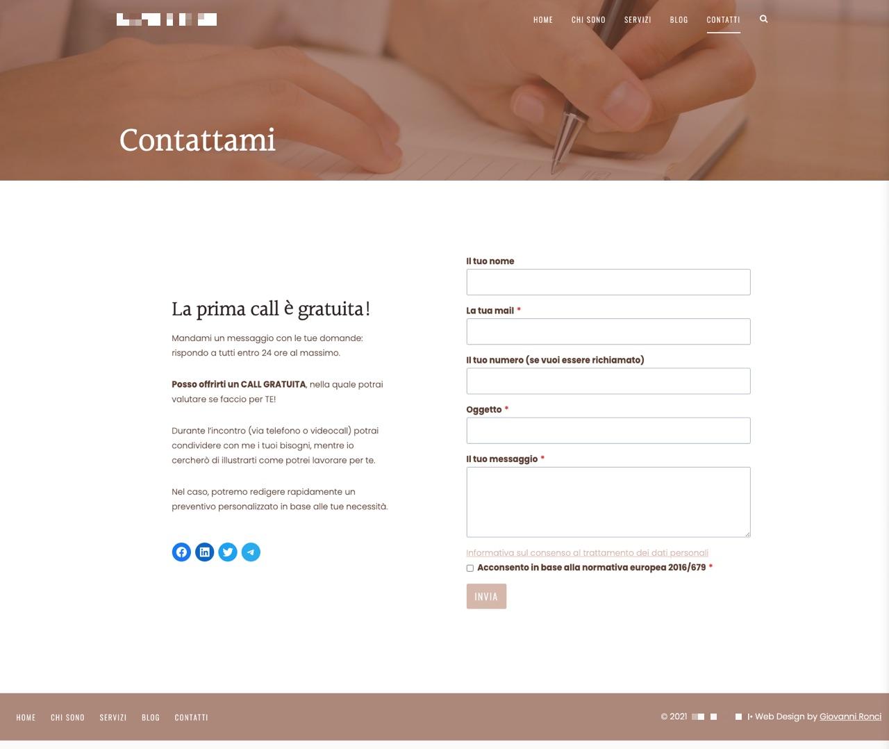Esempio pagina contatti con form